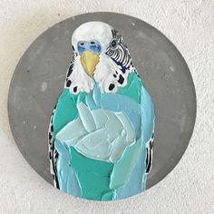 Kawaii Drawings, Art Drawings, Parakeets, Birds 2, Canvas Ideas, Birdhouses, Bird Art, Rock Painting, Rock Art