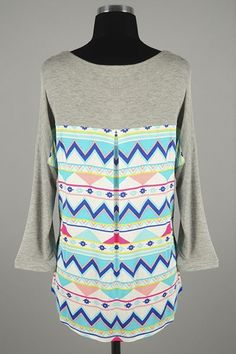 *** New Style *** Casual Lightweight Knit Dolman Blouse with Patch Pocket Accent Featuring Geo Tribal Print Contrast.