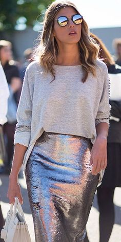 sequin skirt.