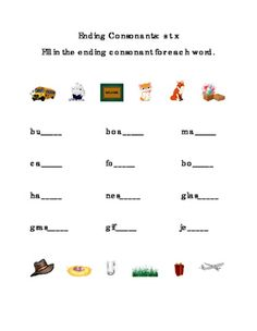 Ending Consonants Write Fill-in Letters S T X. Great for Life-Skills, ELA, Reading Journal Supplement. Fill in the ending consonant for each word. Pictures included. Literacy Center Printable Worksheet. Words include bus, boat, mat, cat, fox, box, hat, nest, glass, grass, gift, and jet. 1 page.