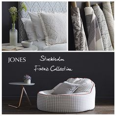 Stockholm Fabric Collection - available from Jones Interiors Stockholm, Bassinet, Interiors, Bed, Fabric, Furniture, Collection, Home Decor, Tejido