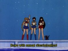 """""""Sailor Moon: """"Down with sexual discrimination! Sailor Moon: Gateway to Feminism Sailor Moon Aesthetic, Aesthetic Anime, Aesthetic Pics, Blue Aesthetic, Sailor Moon Quotes, Retro, Sailor Mars, Sailor Venus, Sailor Scouts"""