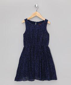 Navy Sleeveless A-Line Dress - Girls by Yumi Girls on #zulily