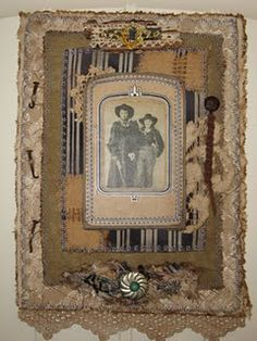 Western Fabric Collage With Vintage Photo of Cowboys