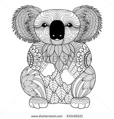 Drawing zentangle Koala for coloring page, shirt design effect, logo, tattoo and decoration.