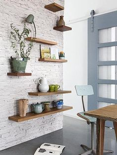 ceglana ściana, tapeta, jadalnia