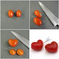 hartjes maken van cherry tomaatjes, simpel maar geweldig idee!
