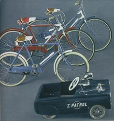 This selection of boy's and girl's bikes and a pedal car are also from the sixties. The bikes are very simple models without gears. The bike in the foreground has very dated leaver brakes. The other two bikes have cable brakes. Styling is based on adult bikes of the era, which was derived from the two-tone look of sixties cars. Note the two tone saddles and paintwork. The tyres are either white, or white-walled; again derived from automotive styling. ☮