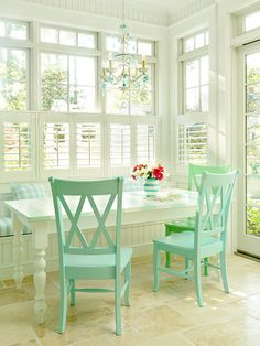Beach Breakfast - I would love to have this in  my dream home because the color is fabulous and the windows make it bright and airy.