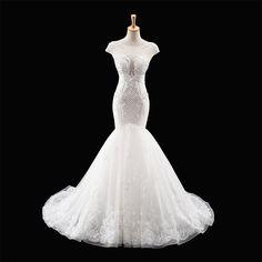 Gorgeous White Mermaid Wedding Dress Lace Bridal Dresses