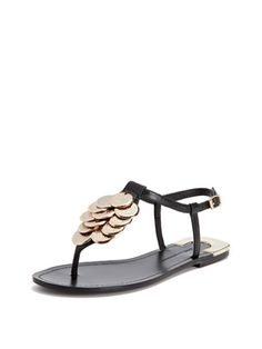 Daisy Hammered Metal Thong Sandal from Sandals Feat. House of Harlow 1960 on Gilt