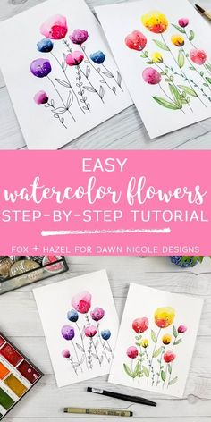 Easy Watercolor Flowers Step by Step Tutorial. Learn how to paint these lovely florals with a detailed step by step lesson from Torrie of Fox + Hazel. drawing easy Easy Watercolor Flowers Step by Step Tutorial Watercolor Painting Techniques, Watercolor Projects, Watercolour Tutorials, Watercolor Cards, Watercolour Painting, Floral Watercolor, Watercolor Flowers Tutorial, How To Watercolor, Flower Tutorial