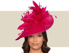 Fun Ladies Fuchsia Pink Feather Fascinator Hat.  Fancy Hats for Horse Races. Vintage Fashion 1950s, Victorian Fashion, Vintage Hats, Fascinator Hats, Fascinators, Mad Hatter Hats, Christian Dior Couture, Fancy Hats, Kentucky Derby Hats