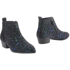 Silvian Heach Ankle Boots (125 AUD) ❤ liked on Polyvore featuring shoes, boots, ankle booties, black, black zipper boots, black glitter booties, black bootie boots, short boots and black boots