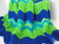 Handmade Classic Ripple Throw Afghan  Greens by SnugableTouches, $50.00