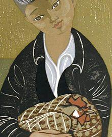 """Sekino, Junichiro  Japan, 1914-1988  """"Boy with Rooster""""  woodcut, 46/100, c 1970"""