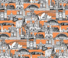 AUSTRALIA TOILE DE JOUY tangerine fabric by scrummy on Spoonflower - custom fabric
