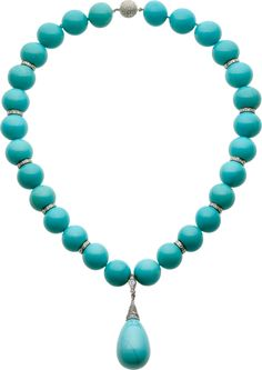 Turquoise Diamonds White Gold Necklace