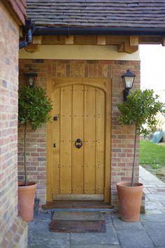 Front door to the porch. All windows and doors are bespoke timber. Cottage Front Doors, Oak Front Door, Cottage Door, Wooden Front Doors, Timber Door, House Front Door, House Entrance, Back Doors, Rustic Doors