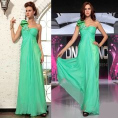 Beautiful Green Chiffon One Shoulder Empire Pageant Event Dress Shop SKU-122328