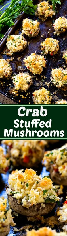 Crab Stuffed Mushrooms- so easy to make for holiday entertaining!