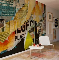 holy pickles this is awesome! I'd love to do this! Decoupage a huge canvas w blown up photos, graphics and ads
