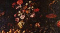 MAESTRO DELLA FLORIDIANA. (attivo a Napoli tra il 1660 e il 1680 ). NATURA MORTA DI FIORI E DI FRUTTA.  olio su tela. Collezione Privata Roberto Lauro. Bologna. Palazzo Monterenzi.