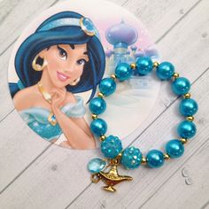 8 - Princess Jasmine Pearl Genie Lamp Birthday Party Favor Bracelet Princess Jasmine birthday Aladdin Birthday Jasmine Bracelet by MichelleAndCompany on Etsy Little Girl Jewelry, Kids Jewelry, Jewelry Party, Jewelry Crafts, Jewelry Making, Jasmin Party, Princess Jasmine Party, Princess Gifts, Aladdin Birthday Party