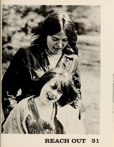 Athena yearbook, 1973. A college student volunteer is paired with an elementary student to have a fun-filled afternoon. :: Ohio University Archives