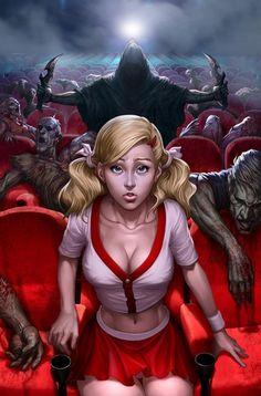 """Horror Girl - By """"Artgerm"""", aka Stanley Lau Anime Art Fantasy, Dark Fantasy Art, Zombie Kunst, Art Zombie, Horror Art, Horror Movies, Ghost Movies, Scary Movies, Deviantart"""