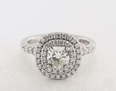 1ct Cushion Halo Engagement Ring in White Gold - See it in 360 HD SuperZoom!