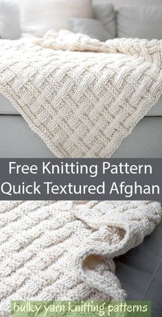 Free Knitting Pattern for Easy Quick Textured Afghan - Throw knit with a basketweave texture in just knit and purl stitches Quick knit in Super Bulky yarn About 42 x 52 in 106 5 x 132 cm Rated easy by the designer Designed by Ubaldo Feliciano-Hernandez Crochet Afghans, Motifs Afghans, Crochet Blanket Patterns, Knitting Patterns Free, Free Knitting, Start Knitting, Free Pattern, Knit Crochet, Easy Knit Blanket