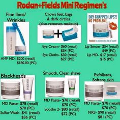 Rodan+Fields mini facial and mini regimen ideas. If you don't want a daily twice a day regimen. www.TinaBean.myrandf.biz