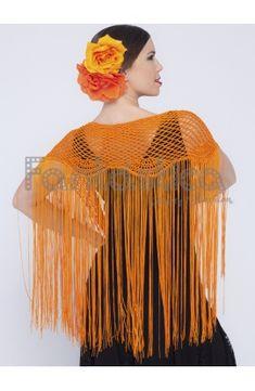 Mantón Flamenco de Crochet para Mujer - Mantón de Ganchillo Color Verde II Color Naranja, Ruffle Blouse, Women, Fashion, Stuff Stuff, Vestidos, Flamenco Dresses, Crochet Shawl, Bangs