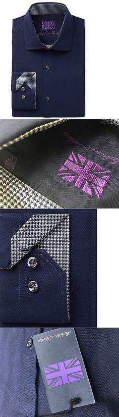 Tuxedo and Formal Shirts 105512: $275 Michelsons London Men S Slim-Fit Blue Herringbone Long-Sleeve Dress Shirt L -> BUY IT NOW ONLY: $34.95 on eBay!