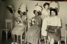 Friends, magazines, and a new hairstyle: some things never change!  #salon #vintage