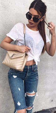 knotted top + high waist casual style