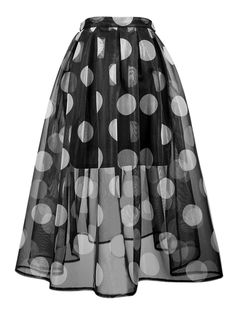 Black, Polka Dot, Sheer, Midi Skater Skirt, With Lining