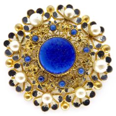 Vintage Czech Art Deco Floral Enamel Lapis Glass Filigree Pin Brooch   Clarice Jewellery   Vintage Jewellery   Vintage Costume Jewellery