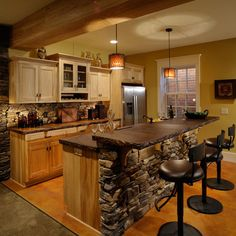 so beautiful, love the rock (notice it is on the backsplash too) and the lighting to showcase it! Sequoia Granite Counter Top Design, Pictures, Remodel, Decor and Ideas - page 21