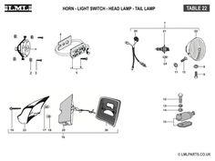 (22) HORN-LIGHT SWITCH-HEAD LAMP-TAIL LAMP - Tasso LML Scooter Spare Parts