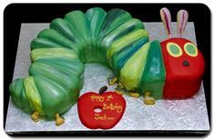 Eric Carle birthday cake- I love this idea since we have to read Laura books by Eric Carle every night