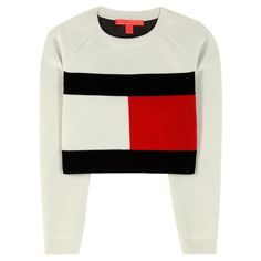 Tommy Hilfiger mytheresa.com Exclusive Flag Cropped Sweatshirt (£135) ❤ liked on Polyvore featuring tops, hoodies, sweatshirts, sweaters, crop top, jumper, white, cropped sweatshirt, white sweat shirt and sweatshirt crop top