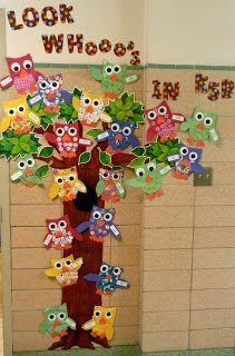 owl classroom theme | owls to the outside wall. My students from last year made these owls ...