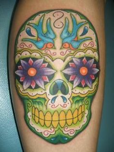 Swallows in a Sugar Skull Tattoo