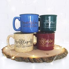 Hogwarts house mugs! Gryffindor, Slytherin, Ravenclaw, and Hufflepuff campfire mugs