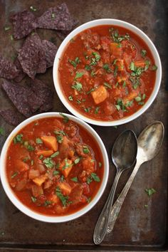 Slow Cooker Sweet Potato Chili - A delicious meal that cooks itself whether you're out at the pool or snuggled in on a cold day. Paleo, GF