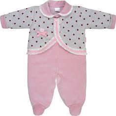 200524c44 Macacão Recém Nascido e Bebê Menina Plush + Poá Rosa - Sonho Mágico :: 764  Kids | Roupa bebê e infantil