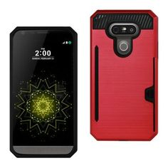 Reiko Lg G5 Slim Armor Hybrid Case-Red With Card Holder Slot (Silicone+Protector Cover)