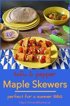 Maple Tofu Skewers - marinated tofu grilled with red peppers and onions and served with sweet and sour papaya salsa and tahini sauce. Perfect for a vegan summer barbecue. Recipes Using Tofu, Best Vegetarian Recipes, Vegetarian Dinners, Tofu Recipes, Easy Recipes, Barbecue Recipes, Grilling Recipes, Marinated Tofu, Tahini Sauce